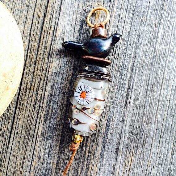 """Lampwork glass bead pendant set handmade by Lori Lochner """"Pewter and Grey Kiku Bird Lantern set"""""""