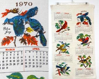 1970 BIRDS . vintage linen calendar