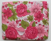 New Vintage Duvet Cover - Cotton Comforter and Blanket Cover  - New Twin Full Queen - Pink Green Floral - Unused