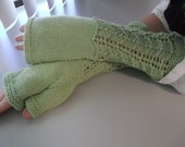 Hand Knit Fingerless Gloves Pistachio Green