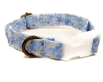 Sparkly Snowflakes - Organic Cotton CAT Collar Breakaway Safety Glitter  - All Antique Brass Hardware
