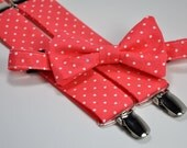 Boy's Bow Tie and Suspender Set - Coral Polka Dots - Children's Bowtie and Suspenders - Wedding Bow Tie