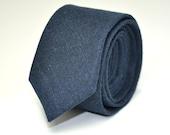 Men's Skinny Necktie, Navy Blue Linen, Men's Ties, Men's Necktie, Wedding Necktie, Custom Ties, Linen Necktie, Groomsmen