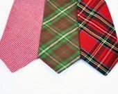 Men's Christmas Necktie, Holiday Tie, Red Houndstooth, Plaid, Tartan Necktie