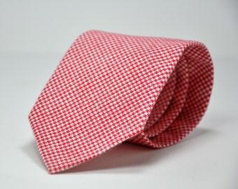 Men's Necktie in Red Houndstooth Flannel