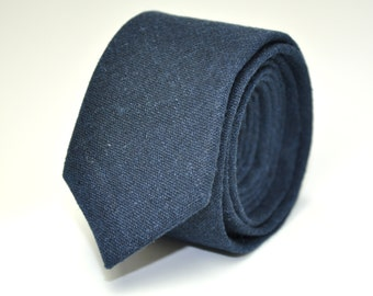 Men's Skinny Necktie, Navy Blue Linen, Men's Ties, Men's Necktie, Wedding Necktie, Custom Ties, Linen Necktie, Groomsmen