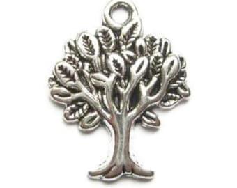 8 Tree Charms silver tone trees (E-S321)