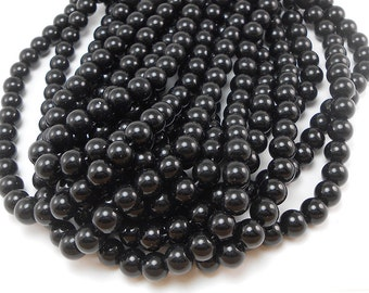 BULK - 10 Strands of 40 Pieces (400 Pieces Total) Black Glass Beads 8mm round (BH5)