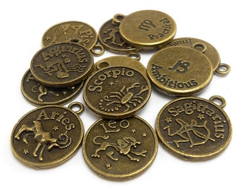Zodiac Charms, Full Set of 12, bronze brass tone metal (H8092)