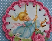 Recycled Vintage Book Illustration - Swinging Along - Crochet Ornament / Bookmark