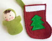 Waldorf doll, cloth doll, rag doll, handmade doll, pocket doll, Christmas Stocking for  waldorf dolls with mini pocket doll