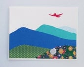 Dream big, fly high! - bird flying over mountains - print card by Emily Lin