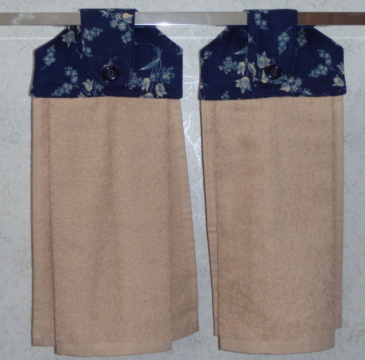 SET Of 2 Hanging Cloth Top Kitchen Hand Towels Blue Floral