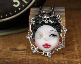 Original Cameo Sculpture Steampunk Crossbones Girl Necklace Pop Surrealism