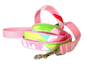 "Dog Leash: Lilly Pulitzer Hotty Pink First Impression Fabric 60"" or 72"""
