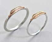 Commitment Rings, Pair of Feather Rings, Sterling Silver Stacking Ring, Silver and Brass Ring, Men's Ring, Women's Ring