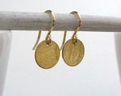Gold Disk Vermeil Earrings / Coin Earrings / Gold Fill Ear Wires / Minimal Earrings / Simple Gold Earrings