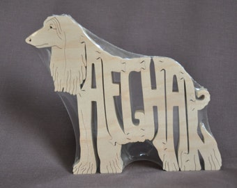 Afghan Dog Puzzle Wooden Toy Hand Cut with Scroll Saw