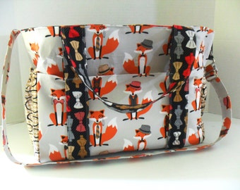Fox Diaper Bag - Dapper Fox - Messenger Bag - Extra Large Diaper Bag