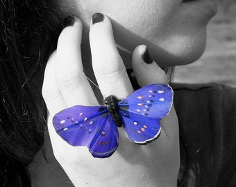 Butterfly Ring - Big Royal Blue Feathers by Smash Gardens on Etsy, Bridesmaids Gifts, Bridal Party Accessories, Woodland Wedding,