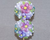 Valentine's Day Sale Lampwork Earring Beads SRA  Lentils with Pink Purple and Aqua Flowers with White Blossoms Green Leaves Yellow Centers