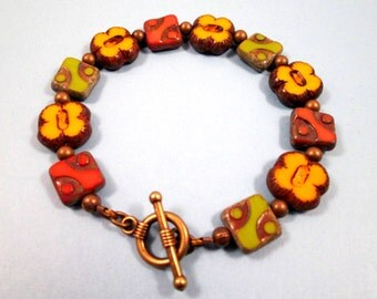 Picasso Glass Bracelet, Yellow Orange Green and Brass Beaded Bracelet, FREE Shipping U.S.