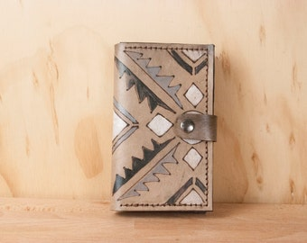 iPhone 6 Plus Wallet Case Leather - Geometric iPhone Case in the Four Corners Pattern