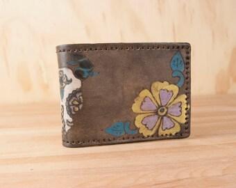 Wallet - Leather Wallet - Bifold Wallet - Day of the dead cow skull in the Black Eyed Nellie Pattern - Mens Wallet - Yellow black purple