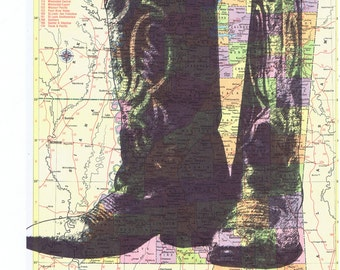 Cowboy Boots.Tennessee.Map.Collage.Atlas.Page Print,home/deco,art.mom.dad.traveller.route.whimsy.rodeo.fashion.cowgirl.eco.hippie.boho.art