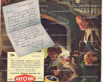 Ray-o-vac battery.Life magazine.original.ONE page.advertisement.wartime.1943.home deco,sweetie.air raid shelter.old crow.alcohol.whisky.art