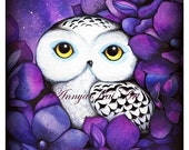 SNOWY OWL Large Watercolor Print - FREE Shipping