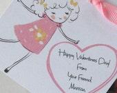 Valentine School Party Favor Tag for a treat bag or Valentine exchange Pink Heart Vintage look