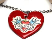 Vegan Ceramic Heart Necklace with Chain in Red