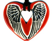 Angel Wings Ceramic Necklace in Red