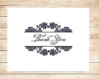 Damask Thank You Cards - Damask Stationery
