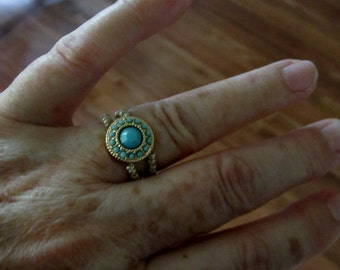 Gold and Turquoise Stretch Ring