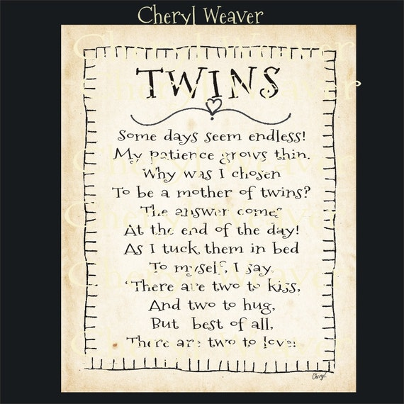 Items Similar To Twins Poem 8 By 10 Inch Original