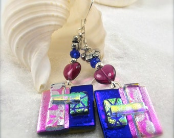 Unusual earrings, hostess gift, handmade jewelry, sapphire blue earrings, wedding gift, earrings dangle, glass jewelry, handcrafted jewelry