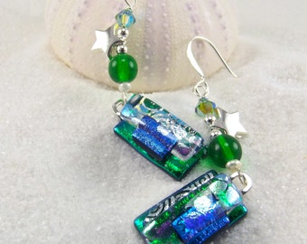 Emerald green earrings, Dichroic glass earrings, Fused glass jewelry, glass fusion, modern design, handcrafted, Hana Sakura, Unusual, Silver
