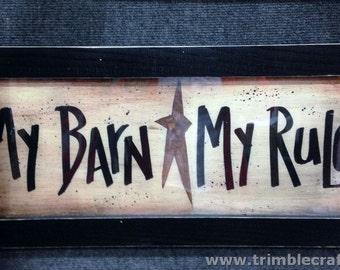 My Barn My Rules sign great horse lover gift framed long plaque hand crafted western decor