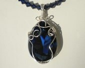 Swarovski Crystal Montana Blue Pendant, Sterling Silver WireWrapped, Montana Blue Crystals