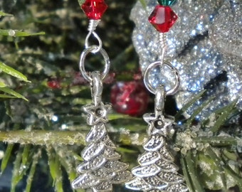Silver Christmas Tree Earrings w Swarovski Crystals Red & Green