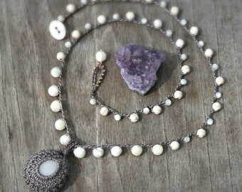 Long Crocheted Stone Necklace - Hippie Boho Cottage Chic