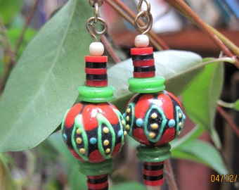 Red and Green Painted Christmas Earrings