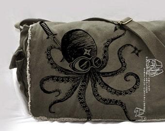 Ninja octopus Canvas Vintage messenger bag printed on a Raw-Edge Messenger