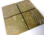 Four Elements Coasters - 4 Carved Slate Coasters, Elements Symbols, Air Fire Water Earth, Anime Decor, Nature Elements Stone Coasters
