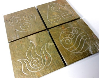 Four Elements Art Coasters Stone Carved: Air Fire Water Earth, Etched Slate Coasters Anime Decor, Gift for Boyfriend, Drink Coasters Nerdy