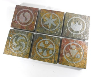 VIDEO GAME COASTERS: Sage Medallions - Handmade Carved Coaster Set of 6 - Natural Drink Coasters, Gamer Fan Art