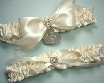 Ivory Wedding Garter Set, Personalized Ivory Satin Bridal Garters with Engraving and Rhinestone Hearts