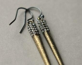 Long Metal Spike Earrings, Spike Jewelry, Linear Dangle Earrings, Metallic Jewelry, Rhinestone Spike Earrings, Holiday Jewelry Gift Women